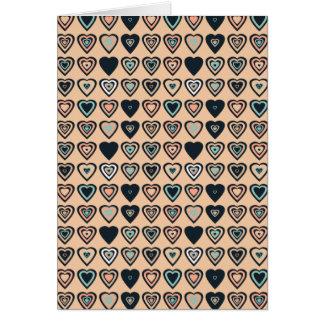 Peach Stylized Heart Pattern Card