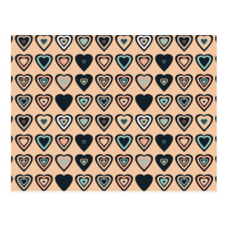 Peach Stylized Heart Pattern Postcard