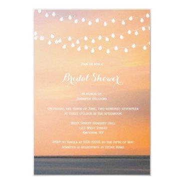 Beach Themed Peach sunset beach bridal shower invitations