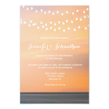 Beach Themed Peach sunset beach wedding invitations