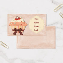 peach sweet cupcake business Cards