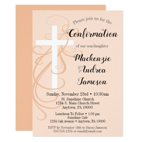 Peach Swirl Cross Confirmation Invitation Girl Boy
