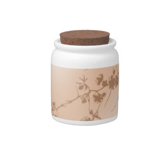 Peach Swirling Vines Candy Jar
