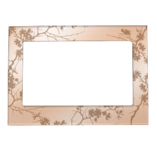 Peach Swirling Vines Magnetic Picture Frame