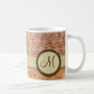 Peach Tan Feather Pattern with Monogram Coffee Mug