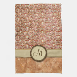 Peach Tan Feather Pattern with Monogram Hand Towel