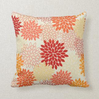 Peach Tangerine Mums Throw Pillows