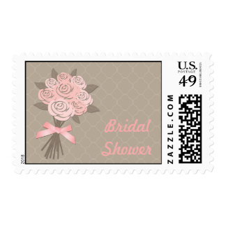 Peach, Taupe Bouquet Bridal Shower Postage