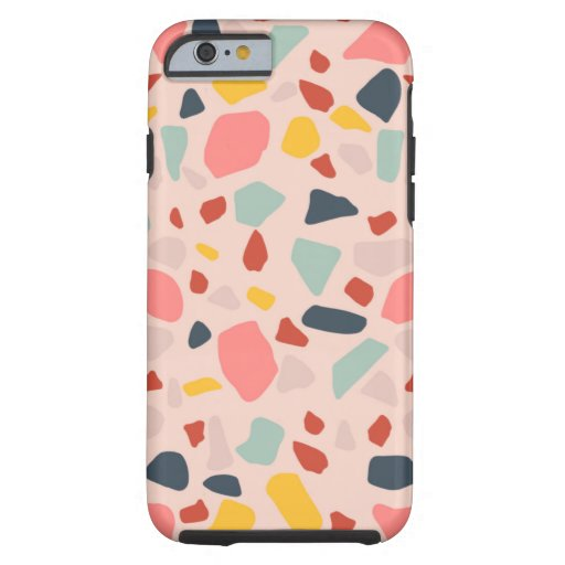 Peach terrazzo design tough iPhone 6 case