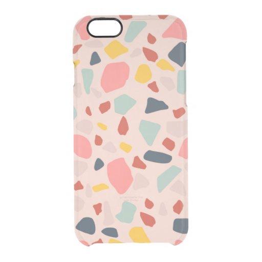 Peach terrazzo design clear iPhone 6/6S case