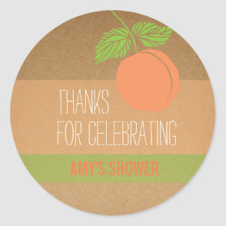 Peach Thank You Label, Baby Shower, Bridal Shower Classic Round Sticker
