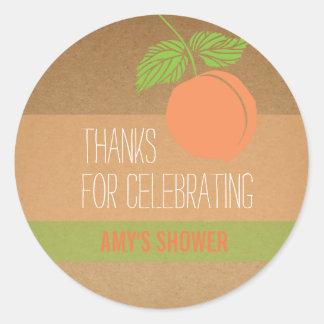 Peach Thank You Label, Baby Shower, Bridal Shower Classic Round Sticker