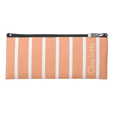 Professional Business Peach Toast and White Stripes Personalized Pencil Case