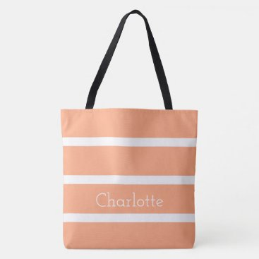 Professional Business Peach Toast and White Stripes Personalized Tote Bag