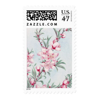 Peach Tree Blossom Flowers Stamp