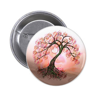 Peach Tree of Life Moon Button