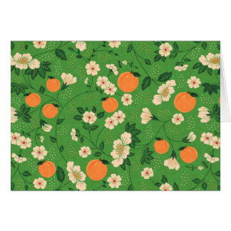 Peach Tree on Green Background Greeting Cards