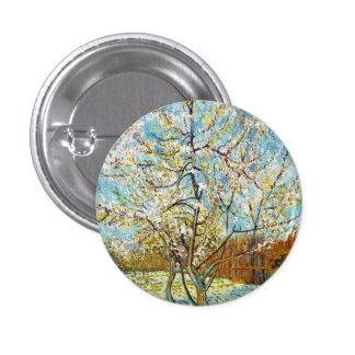 Peach Trees in Blossom Vincent Van Gogh Buttons