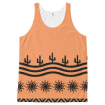Peach Tribal Sun Cactus Pattern All-Over-Print Tank Top