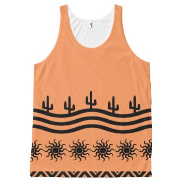 Aztec Themed Peach Tribal Sun Cactus Pattern All-Over-Print Tank Top