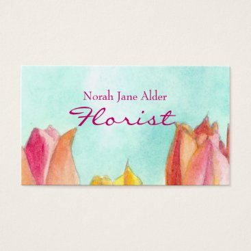 Professional Business Peach Tulip Business Card Watercolor Floral Art