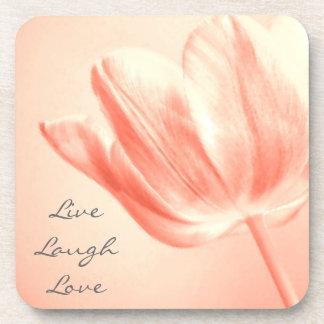 Peach Tulip Live, Laugh, Love Coaster