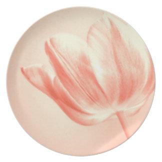 Peach Tulip Live, Laugh, Love Melamine Plate