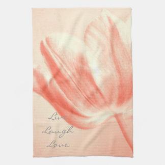 Peach Tulip Live, Laugh, Love Towel