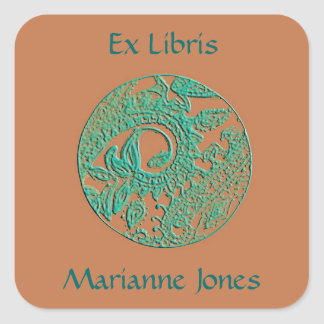 Peach & Turquoise Paisley Relief Bookplate Sticker
