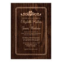 Peach Vintage Barn Wood Wedding Invitations Invites