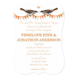 Peach Vintage Bird Bunting Wedding Invitations
