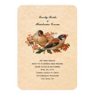 Peach Vintage Birds Small Wedding Invitation