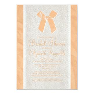 Peach Vintage Bow Linen Bridal Shower Invitations Personalized Announcements