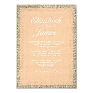 """Peach Vintage Burlap Wedding Invitations 5"""" X 7"""" Invitation Card"""