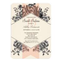 Peach Vintage Floral and Stripe Card