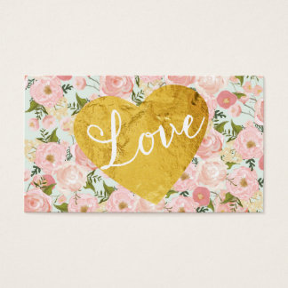 Peach Vintage Floral Fake Gold Love Heart Girly Business Card