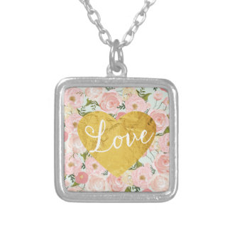 Peach Vintage Floral Fake Gold Love Heart Girly Square Pendant Necklace
