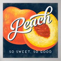 Peach Vintage Fruit Label Poster