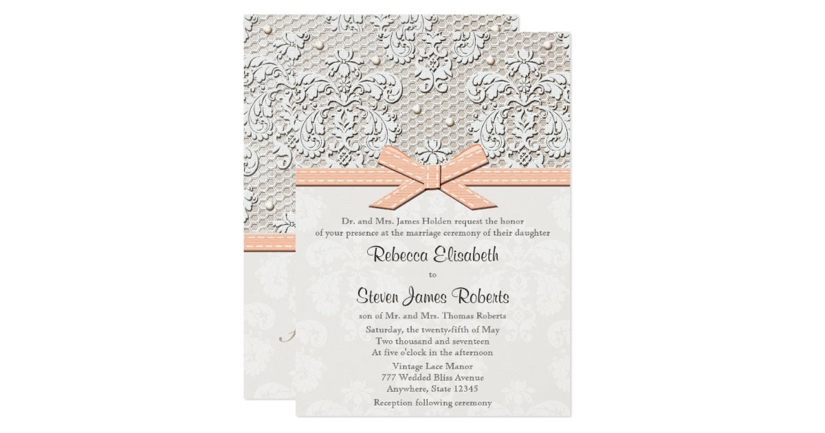 Wedding Invitations Lace And Pearl: Peach Vintage Lace And Pearl Wedding Invitations
