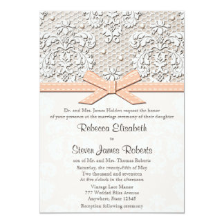 Peach Vintage Lace and Pearl Wedding Invitations