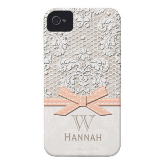 Peach Vintage Lace Pearl iPhone 4 Case