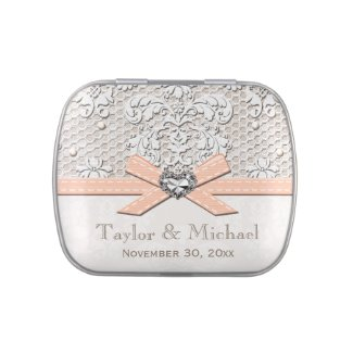 Peach Vintage Lace Pearls Glamour Wedding Favor Jelly Belly Tin