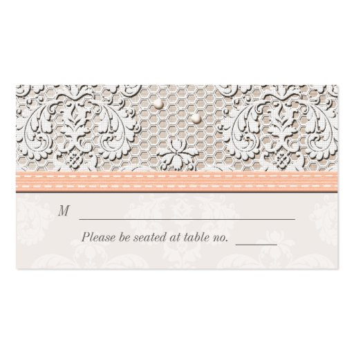 Peach Vintage Lace Wedding Seating Place Cards