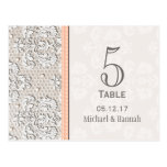 Peach Vintage Lace Wedding Table Number Card