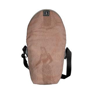 Peach Vintage Ladies Pattern Messenger Bags