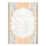 Peach Vintage Linen Burlap Lace Wedding Invitation Custom Announcements