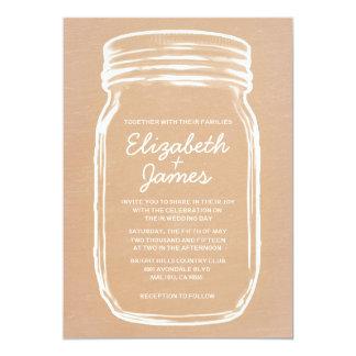 Peach Vintage Mason Jar Wedding Invitations