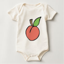 Peach w/ green leaf Pattern Baby Bodysuit