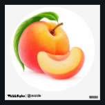 """Peach Wall Decal<br><div class=""""desc"""">Customizable wall decals to decorate your home,  fresh and juicy,  you can change size and shape,  and add any text you like. Look at my big collection of fruits and vegs at http://www.zazzle.com/6hands. :)</div>"""
