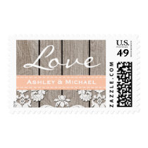 Peach Washed Coral Rustic Wood Lace Love Wedding Postage